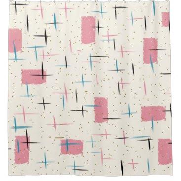 Retro Atomic Pink Pattern Shower Curtain