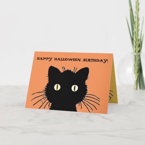 Retro Black Cat Happy Halloween Birthday Card