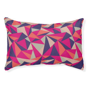 Retro Blue Pink Triangle Geometric Pattern Dog Bed Small Dog Bed