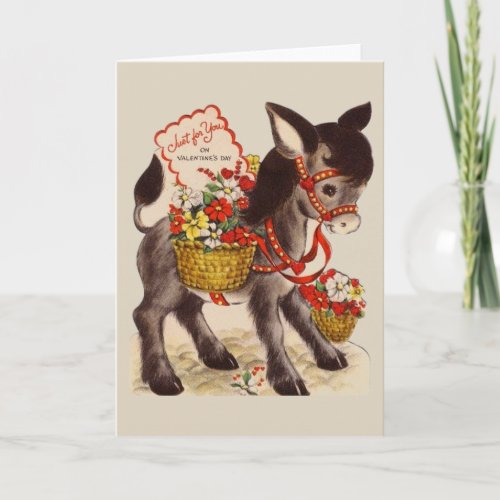 Retro Donkey with Flowers Valentine Greeting Card
