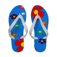 Retro Flowers on Blue Background Flip Flops