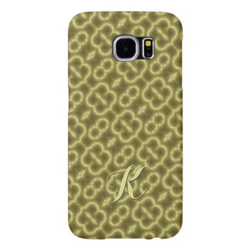 Retro Green and Gold with Initial Samsung Galaxy S6 Cases