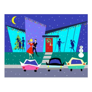 Retro Holiday Cartoon Party Christmas Postcard