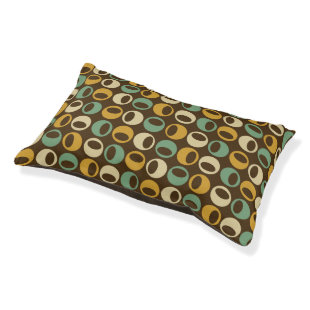 Retro Modern Spheres Pattern Dog Bed - Brown Small Dog Bed