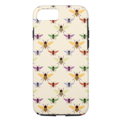 Retro multi color rainbow bees bumblebees pattern iPhone 8/7 case