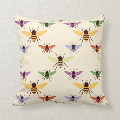Retro multi color rainbow bees bumblebees pattern throw pillow