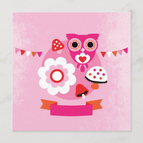Retro owl kids postcard template