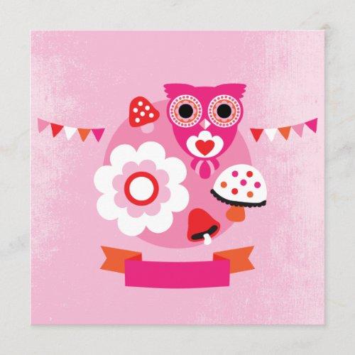 Retro owl kids postcard template