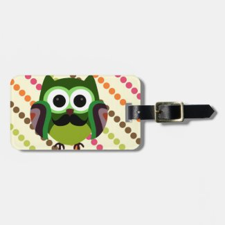 Retro Owl with Mustache Tags For Bags