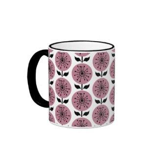 Retro Pink Flowers Ringer Coffee Mug