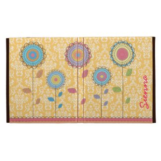 Retro Rainbow Flower Name IPAD Caseable Folio Case