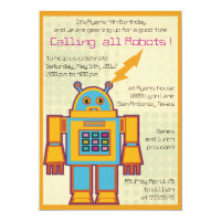 Retro Robot-kids birthday invitation -2