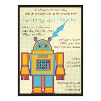 Retro Robot-kids birthday invitation -6