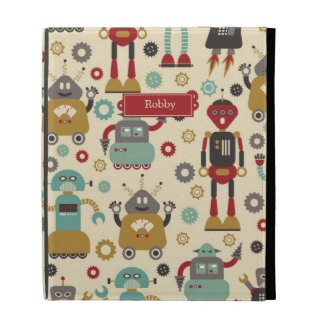 Retro Robots (Cream) iPad Caseable Case