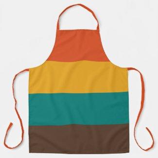 Retro Stripes Vintage Teal Color Orange Apron