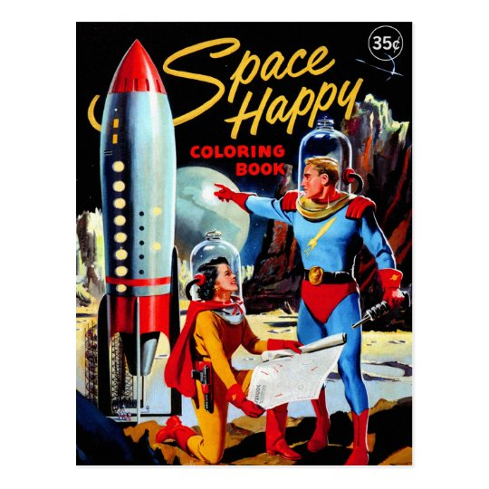 Retro Vintage Kitsch 60s Space Happy Coloring Book