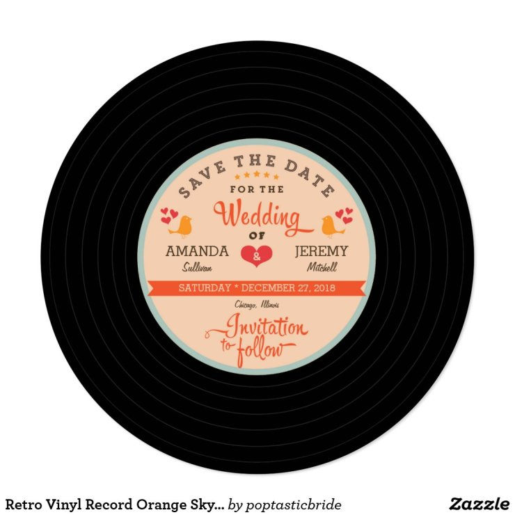 Retro Vinyl Record Orange Sky Blue Save the Date Card