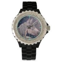 rhinestone with Black Enamel watch unicorn