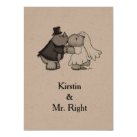 Rhino and Hippo Wedding Invitation
