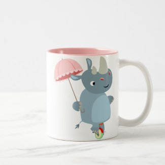 Rhino with Umbrella on Unicycle Mug mug