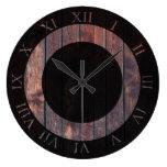 Rich Dark Wood   Farmhouse Rustic Style Large Clock