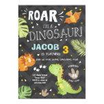 Fun Roar Green Dinosaur Birthday Party Invitation
