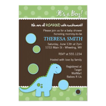 Roaring Dinosaur Baby Shower Invitations