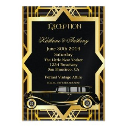Roaring Twenties Gatsby Style Reception 4.5x6.25 Paper Invitation Card