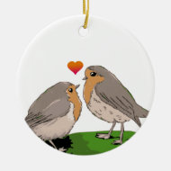 Robin redbreast bird love christmas tree ornament