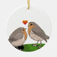 Robin redbreast bird love christmas tree ornament