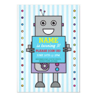 ROBOT Birthday Party Blue Stripe Boys Invitation