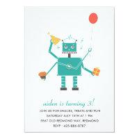 Robot Bleep Bleep Kid's Birthday Party Invitation