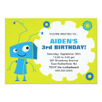 Robot Gear Birthday Invite