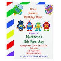 Robot Kids Birthday Party Invitation
