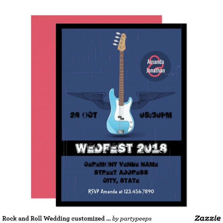 Rock and Roll Wedding customized invitation