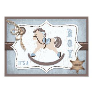 Rocking Horse Cowboy Baby Shower Blue 5x7 Paper Invitation Card