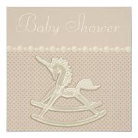 Rocking Horse Unicorn Neutral Baby Shower Card