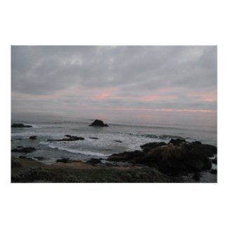 Rocky Cambria, California, Coastline at Sunset Poster