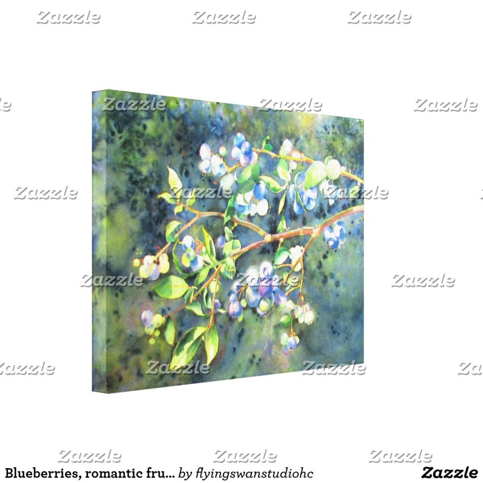 Romantic Blueberry watercolor painting Canvas Print