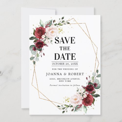 Romantic Burgundy Blush Pink Botanical Geometric Save The Date
