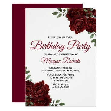Romantic Burgundy Red Rose Birthday Party Invite