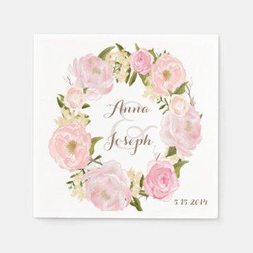 Romantic Floral Wreath Wedding Napkin