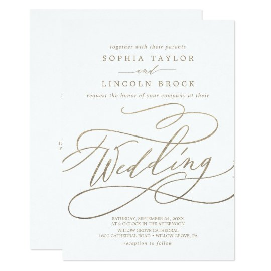 Gold Calligraphy Details On Back Wedding Invitation