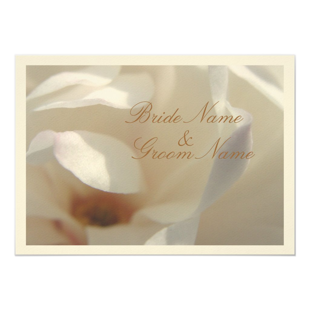 Romantic Ivory Magnolia Wedding Invitation