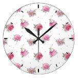 Romantic Pink Peony & Dot Watercolor Pattern Large Clock