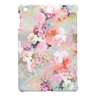 Romantic Pink Teal Watercolor Chic Floral Pattern Cover For The iPad Mini