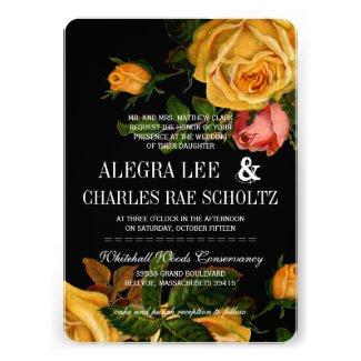 Romantic Rustic Heirloom Roses on Black Custom Invite