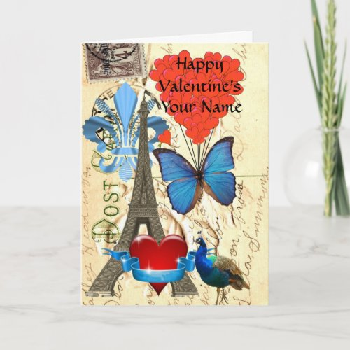 Romantic  vintage Paris Valentine's Holiday Card