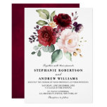 Romantic Watercolor Burgundy Red Blush Rose Floral Invitation