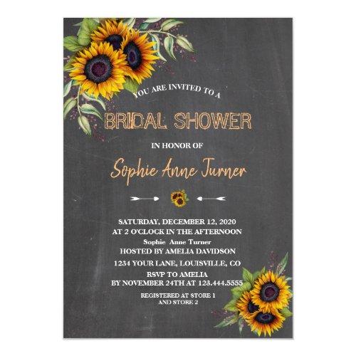 Romantic Watercolour Sunflowers Wood Bridal Shower Invitation